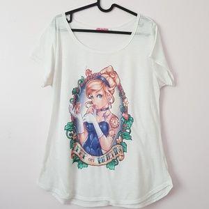 d-mambo Tops - Tattoed Cinderella tshirt size plus size xxl